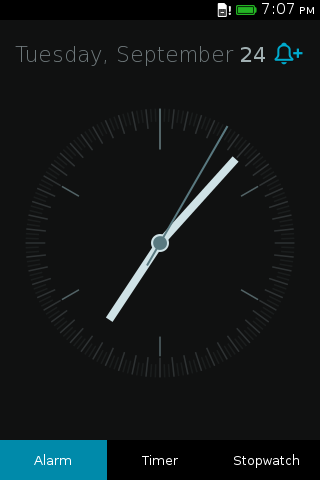 Screenshot of Clock app