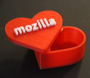 A heart shaped box with Mozilla embossed on top.