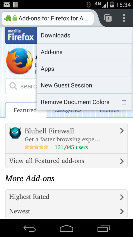 Remove colors option in tools menu
