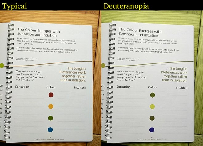 A page from a workbook displayed side-by-side with typical and green-red blindness.