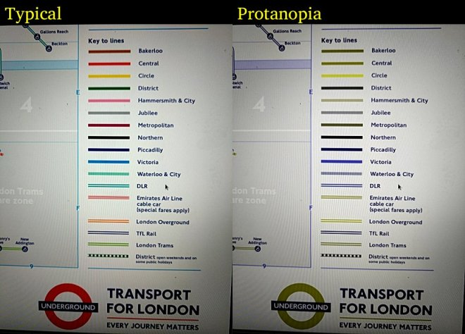 A side-by-side snapshot of the London Tube's legend with typical vision on the left and protonopia on the right
